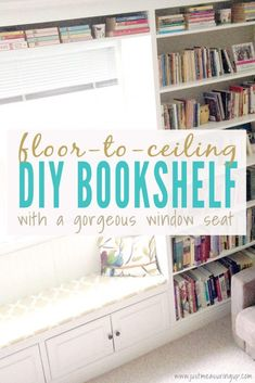 34 DIY Bookshelf Ideas Easy and Cheap Bookcases to Make : DIY Bookshelf Ideas Floor to Ceiling Built In Bookshelf DYI Bookshelves and Projects Easy and Cheap Home Decor Idea for Bedroom, Living Room Step by Step tutorial diy diyideas diydecor hom Dyi Bookshelves, Diy Bookshelf Wall, Cheap Bookcase, Floor To Ceiling Bookshelves, Bookshelf Design, Bedroom Bookshelf, Book Shelves, Cheap Home Decor, Diy Home Decor