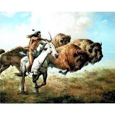 Native American Art Paintings, Prints, etc. Buffalo Hunt Print   buffalo rinner