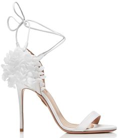 e04685b62e6 White Lily of the Valley Appliquéd Canvas-Trimmed Suede Sandals