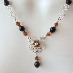 Wire Work Necklace Set - Silver Swirled Design - Crystal Focal - Amber - Black