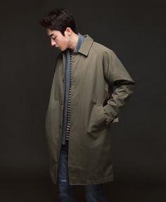 Long Button Down Coat   $66.00 #khaki #homme #outerwear