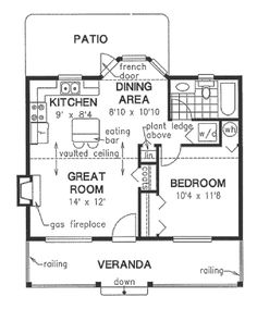 Cottage Style House Plan - 1 Beds 1 Baths 614 Sq/Ft (with ceilings- could create sleeping loft) Cottage Style House Plans, Bungalow House Plans, Cottage Plan, Cottage Style Homes, Small House Plans, Cozy Cottage, 1 Bedroom House Plans, The Plan, How To Plan