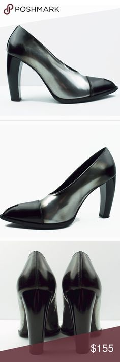 Jil Sander Size Eu 39 Black Silver Steel Leather Cap Toe Rockstar Heels Shoes Clothing, Shoes & Accessories Women's Shoes