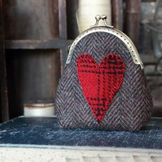 Primitive Valentine Heart Wool Appliqued Coin by rockriverstitches, $20.00