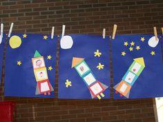 wie vliegt er met Zoem mee naar de maan?? Knippen,plakken en tekenen (naar een idee van juf Lisette) Letter R Crafts, Shark Craft, Outer Space Theme, Space Activities, Inspired Learning, Crafts For Kids, Arts And Crafts, Types Of Craft, Kindergarten Art