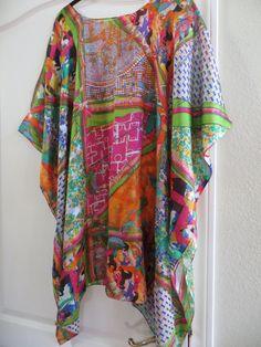 fa7cd31555e Hermes Print 100% Silk Caftan, Silk Tunic, Silk Kaftan, Womens Silk Dress,  Coverup, Silk Blouse