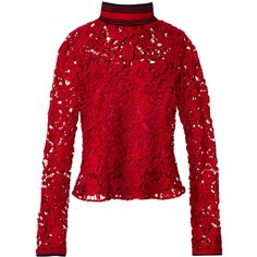 Salvatore Ferragamo Macrame Lace Long Sleeve Top (37.761.530 IDR) ❤ liked on Polyvore featuring tops, crochet lace top, lace top, salvatore ferragamo, long sleeve tops and lacy tops