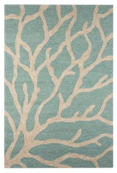 RugStudio | Jaipur Rugs | Woven Area Rug, Coastal I-O Coral CI13 Frosty Green Hand-Hooked Area Rug
