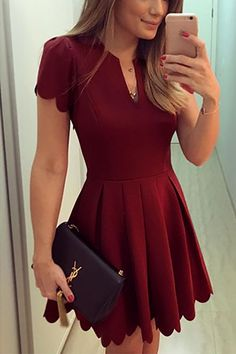 Burgundy V-neck Dress with High-waisted Design - US$21.95 -YOINS