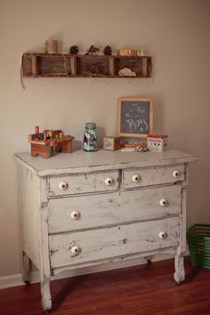 Love this for a vintage themed baseball nursery! Put a pad on top and turn a cute dresser into a changing table.