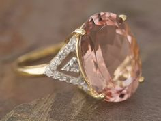 #Morganite & #diamond solitaire #ring from Jewelry Television