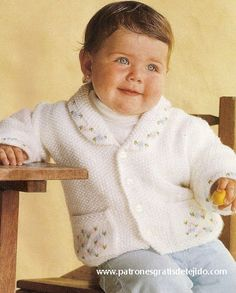 Moldes  Chaquetita dos agujas para nena Baby Knitting Patterns, Ruffle Blouse, Long Sleeve, Sleeves, Tops, Women, Ideas, Fashion, Dresses For Babies