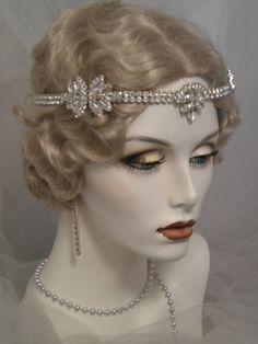 1920s Bridal Headpiece, Art Deco headband, Flapper, Gatsby, Vintage style, Silver, crystals, rhinestones, Forehead band, elastic, # Scarlett