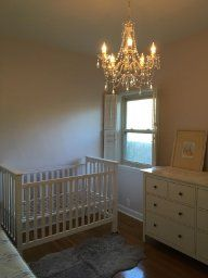 Nursery with Large Crystal White Gypsy Color Crystal Chandelier