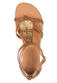 dory metallic disc gladiator sandal in brown - maurices.com
