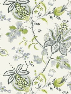 Thibaut Donegal Green and Grey Wallpaper - - Monterey Wallpapers Collection View Wallpaper, Fabric Wallpaper, White Wallpaper, Bathroom Wallpaper, Textile Patterns, Print Patterns, Textiles, Construction Wallpaper, Brown And Blue Living Room