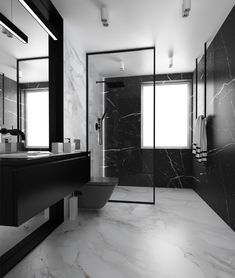 Black and white bathroom by HOME DECO Showroom – Marble Bathroom Dreams Modern Marble Bathroom, Modern Bathroom Design, Bathroom Interior Design, Bad Inspiration, Bathroom Inspiration, Black White Bathrooms, Bathroom Black, Beautiful Bathrooms, Design Ideas