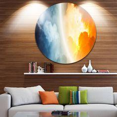 DESIGN ART Designart 'Space Sunset' Modern Spacescape Disc Metal Artwork