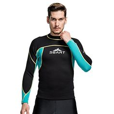 Neoprene t-shirt snorkel suit warm winter diving coat men's black winter surf swimsuit , 739 black spell sky blue , xl -- Awesome products selected by Anna Churchill