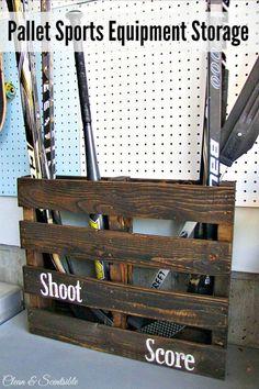 Pallet Sports Equipment Storage - 30 Pallet Ideas to Organize Your Home Storage - DIY & Crafts