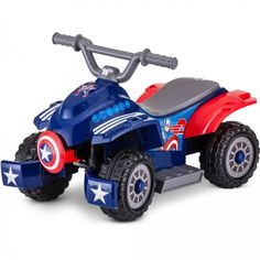 Marvel Captain America 6 Volt battery powered ride on quad toys for toddler Kid Trax Rubber Strip Traction Tires for secure driving on slick or Easy push-button acceleration that can travel at mph Quad, Toddler Boy Toys, Toddler Gifts, Children Toys, Batman Batmobile, Disney Rides, Power Wheels, Marvel Captain America, Kids Ride On