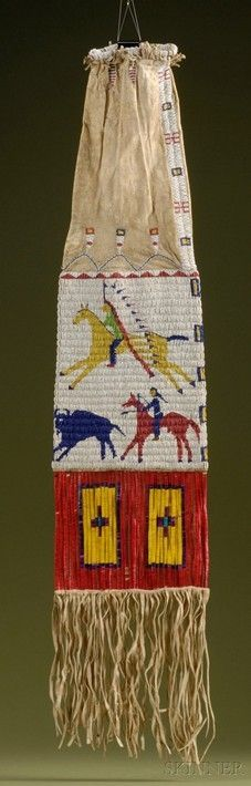 Bag   Lakota Pipe Beaded & Quilled Hide American Flag & Mounted