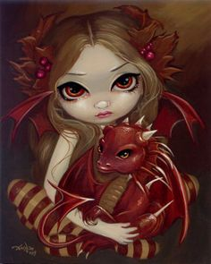 fairy  red dragon by artist Jasmine Becket-Griffith