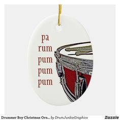"This beautiful drummer Christmas ornament features a red snare drum, drum sticks and the caption ""pa rum pum pum pum"".  Check out www.drumjunkiegraphics.com for more great drummer merch and musician gifts - all designed by a drummer! #drummerchristmas #musicianchristmas #snaredrum  #drumsticks #drumjunkie"