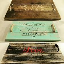 Hand built, painted, stained & stenciled serving trays make from old wood rulers, yardsticks Wooden Projects, Wooden Crafts, Pallet Projects, Woodworking Projects, Diy Projects, Painted Wood Crafts, Painted Trays, Hand Painted, Wooden Diy