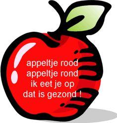 rijmpj;appeltje rood appeltje rond ik eet je op dat is gezond ...