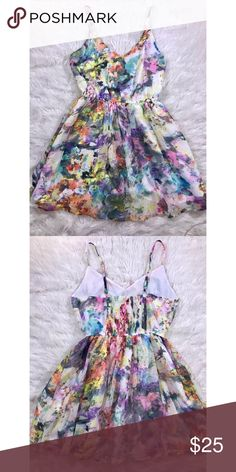 Forever 21 Exclusive Watercolor Dress Size small. Elastic in the back that can stretch to fit larger sizes. 100% Polyester. Lightly used and in great condition. Open to reasonable offers. ☺️ No trades please. 💞 **Remember, 15% off bundles of 2 or more!** Forever 21 Dresses Mini