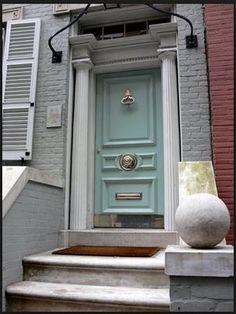 Robin's egg blue front door