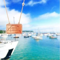 Map Necklace Style MAPN005 She took a little piece of #home with her wherever she went. From the shores of Cape Cod to Nantucket and every boat ride between, she sailed into #adventure with the belief that anything can happen when you set your sails to the wind #mapyourmoment #AJAFFE #celebrate #personalizedjewelry #rosegold #mapnecklace