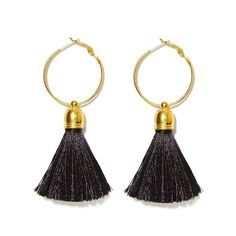 Top cute item to complement your classy or party outfit! 12 different colors available. Hoop earrings ø3cm Gold color Real Silk tassels - Super...