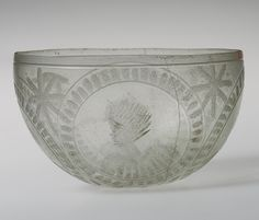 Engraved bowl with medallions, 4th century A.D. Roman. Glass.