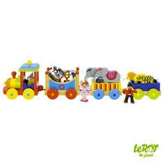 Train du cirque Livorno, en bois avec danseuse, dompteur, cheval, zèbre, éléphants, tigre, lion Leroy du jouet