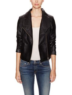 Leather Funnel Neck Jacket from Leather Jackets on Gilt