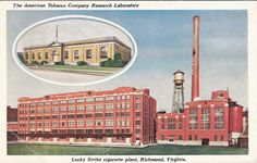 Chrome Postcard The American Tobacco Company Research Laboratory, Lucky Strike Cigarette plant Richmond, VA Contemporary History, Virginia History, Confederate States Of America, Virginia Is For Lovers, Old Dominion, Richmond Virginia, Model Trains, Vintage Photographs, Small Towns