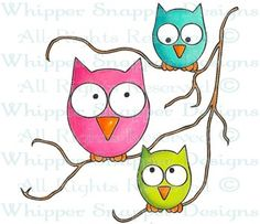 Funny Owls - Woodland - Animals - Rubber Stamps - Shop