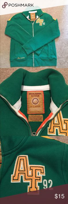 Abercrombie and Fitch Vintage Track Jacket Green with white/gold sleeve/shoulder trim. Chest logo. Small waist logo. Zipper works, excellent condition. Worn fewer than 5 times. Stand up collar. From 2002 Collection. Size XL. Retail $98 Abercrombie & Fitch Jackets & Coats Performance Jackets
