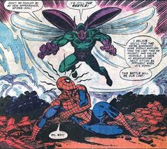 The Beetle introduces Spider-Man to his new battle-suit.