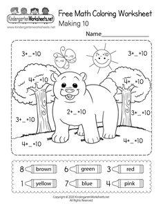 Kindergarten Color by Making 10 Worksheet