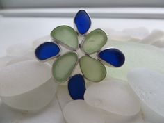 sea glass brooch made with fine silver