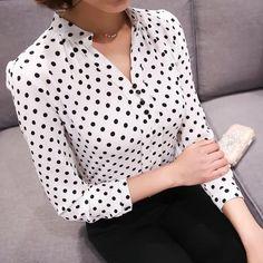 3e01f802ad New Spring 2018 Women Tops Casual Long Sleeve Fashion Women Blouse Shirt  Office Chiffon Print Dot Blouses Female Clothing Blusa