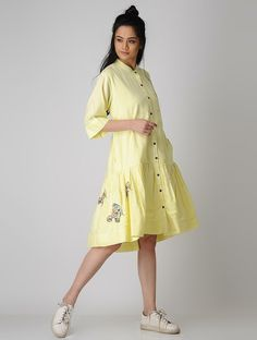 #Yellow #Embroidered #Cotton #Dress #women #fashion #style Simple Kurti Designs, Blouse Designs, Cotton Dresses Online, Dress Online, Western Dresses, Western Wear, 1 Piece Dress, Hand Work Blouse Design, Beautiful Girl Indian