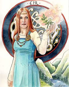 "The Northern Grove The Norse Goddess Eir  In Norse mythology, Eir (Old Norse ""help, mercy"") is a goddess and/or valkyrie associated with medical skill.   Eir is attested in the Poetic Edda, compiled in the 13th century from earlier traditional sources; the Prose Edda, written in the 13th century by Snorri Sturluson; and in skaldic poetry, including a runic inscription from Bergen, Norway from around 1300.   art by Nicole Cadet"