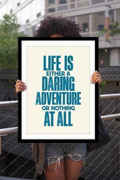 "Typography Print Poster Art ""Life is Either a Daring Adventure..."" Wall Art Decor Subway Art Inspirational Quote Typographic Design"