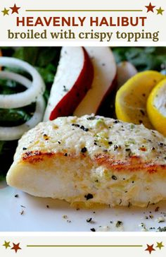 Heavenly Halibut Heavenly Halibut is a broiled halibut fillet recipe crusted with a rich mayo, Parmesan topping. Ready in 30 minutes, this is an easy weeknight fish recipe that will become your family favorite seafood dinner. Clean Dinner Recipes, Clean Eating Dinner, Dinner Healthy, Healthy Eating, Fish Recipes, Seafood Recipes, Healthy Recipes, Baked Halibut Recipes, Seafood