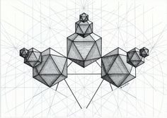 #solid #polyhedron #geometry #symmetry #mathart #regolo54 #ink #isocahedron #hexagon #triangle #platonic