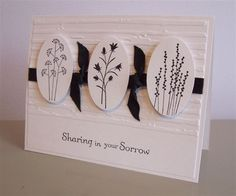 handmade card: Pocket Silhouettes Sympathy by LaLatty ... black & white ... silhouettes in ovals ... black ribbon knotted ... embossing folder texture ... beautiful card ... Stampin' Up!